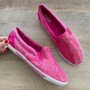 Coach Kivy Pink Sequin Slip on Sneakers
